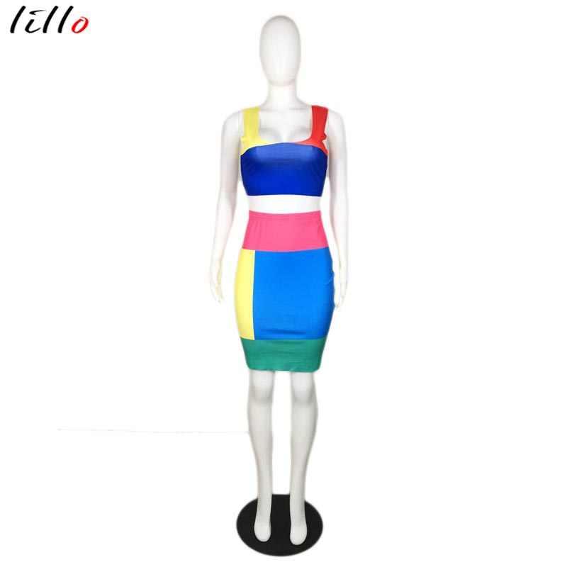 Уникальная контрастная прошивка, женский костюм из двух предметов, модный, сексуальный, позиционирующий, повседневный костюм из двух предметов, юбка, летний костюм