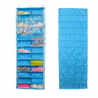 Closet Ware Clear Over The Door 26 Pocket Shoe Organizer Washable Polyester Shoe Rack Hanging Shoe
