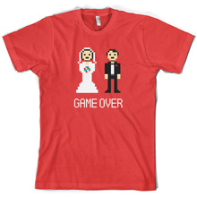 Game Over Pixels - Mens T-Shirt Married Wedding 10 Colours Free UK P&PPrint T Shirt Short Sleeve Hot Black Style