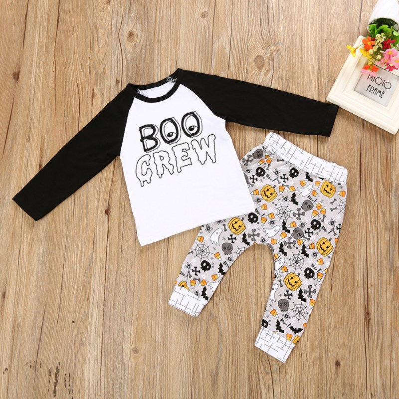 WEIXINBUY 2017 Baby Boy Holloween Print Clothes 2pcs Long Sleeve T-shirt Tops +Pants Outfit Clothing Set Suit baby fox print clothes set newborn baby boy girl long sleeve t shirt tops pants 2017 new hot fall bebes outfit kids clothing set
