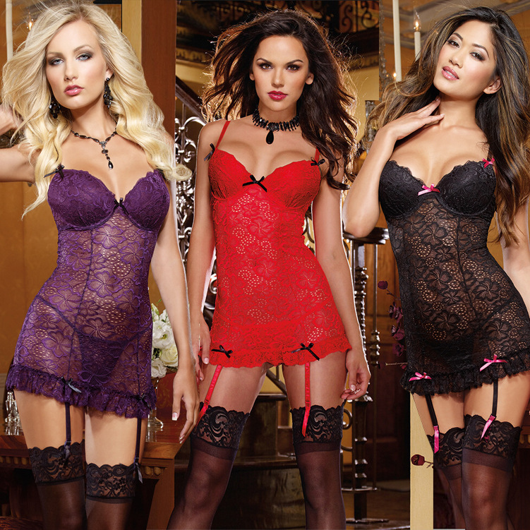 Plus Size 3XL Sexy Costumes 2017 Sexy Lingerie Hot Lace Printing Perspective Sling Lingerie + T Pants Sex Products Sexy Lingerie