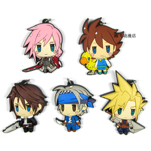 Final Fantasy 30th Action Figure Cloud Strife Bartz Klauser Squall Leonhart Lightning Mobile Phone Schoolbag Rubber Keychain 6cm