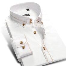 Мужские хлопковые рубашки с длинным рукавом на пуговицах, мужские Смарт повседневные деловые формальные рубашки для социальных мероприятий, облегающие белые рубашки с золотым краем