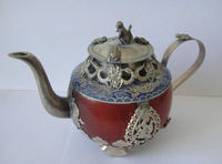 Collectible Decorated Old Handwork Jade Tibet Silver Dragon Tea Pot Monkey Lid