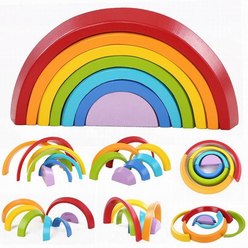 7pcs/Lot Wooden Building Blocks Colorful Rainbow Stacker Nesting Creative Wood Circle Set For Baby Children Play Game Toys MZ192