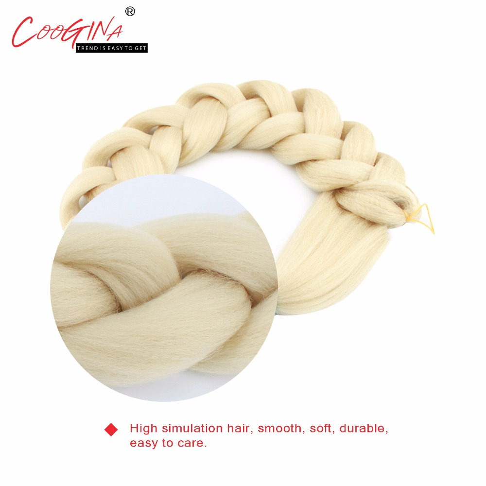 Coogina 2018 New Women Synthetic Kanekalon Braiding Hair Extensions 41inch 170g/Pack Jumbo Braids For Russian Girls Pure Color