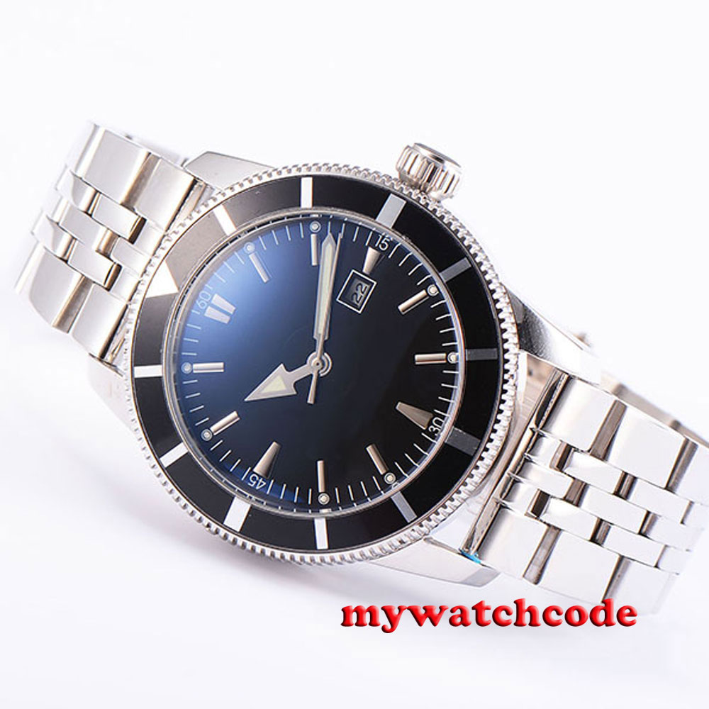 46mm parnis sterile black dial luminous marks automatic mens wrist watch B91 hot sale 46mm parnis black dial power reserve white marks automatic men wrist watch page 5