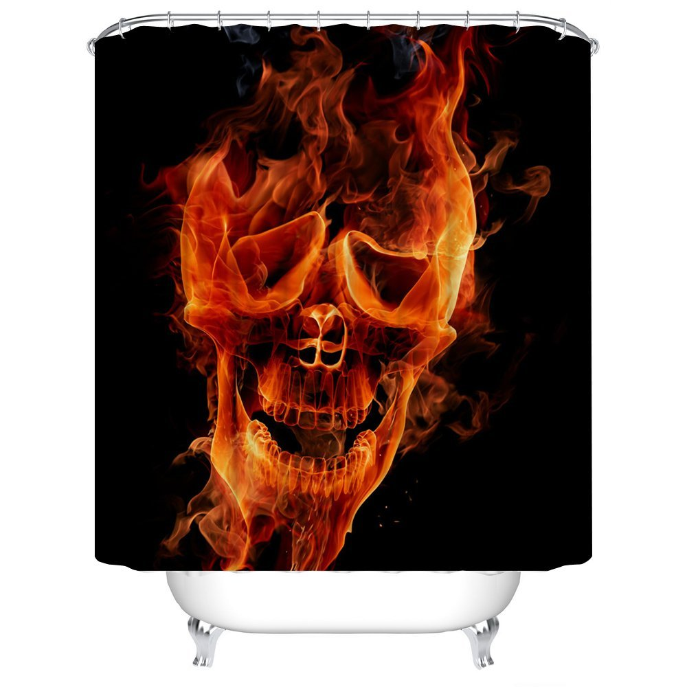 Etonnant Fire Skeleton Skull Shower Curtain Printing Waterproof Mildewproof  Polyester Fabric Bath Curtain Bathroom In Shower Curtains From Home U0026  Garden On ...