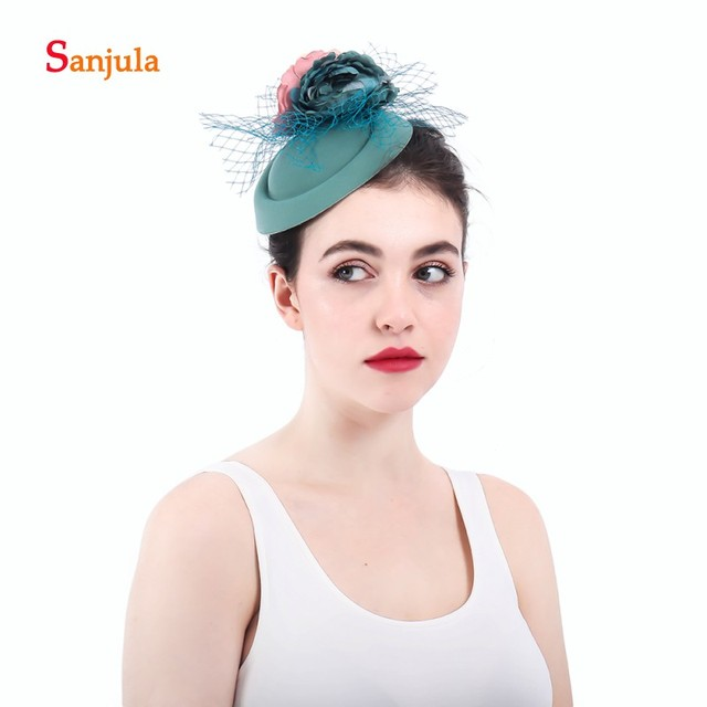 Fashionable Flowers Bridal Hats Wedding Hats and Fascinators with Tulle Small  Hats noivas acessorio de cabelo H31 c7cdc6a8d37