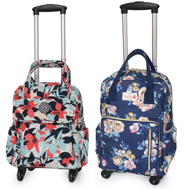 caa09b373 Women Business Travel Trolley Bags travel Backpacks with wheels luggage  trolley backpack Mochila Oxford Rolling Baggage