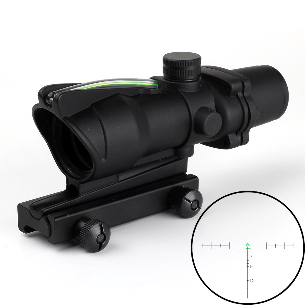 Lambul Hunting Riflescope ACOG 4X32 Real Fiber Optics Red Green Illuminated Chevron Glass Etched Reticle Tactical