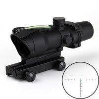 Lambul Hunting Riflescope ACOG 4X32 Real Fiber Optics Red Green Illuminated Chevron Glass Etched Reticle Tactical Optical Sight