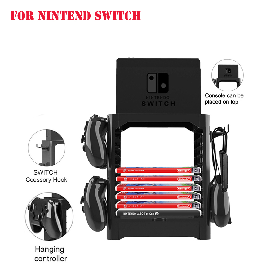 Multifunctional Disk Storage Tower Game Card Box Storage Stand Holder Bracket for Nintend Switch NS Console Controller Bracket