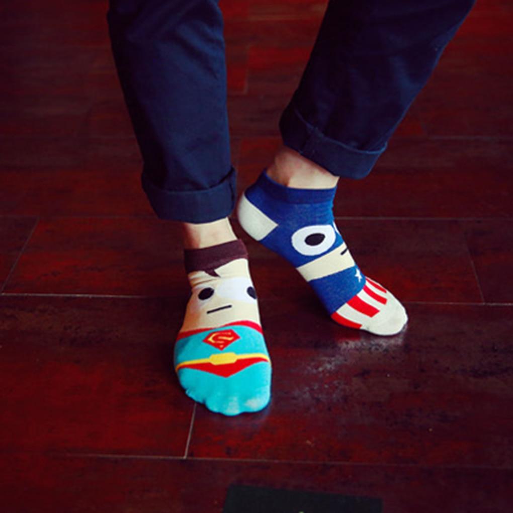 Super Hero Cartoon Man Sock Ankle Cotton Socks Men Boat Sock Harajuku 7 Colors