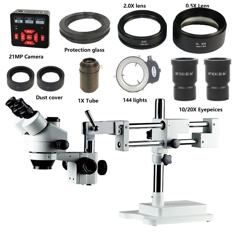 3.5X-90X Double Boom Stereo Simul Focal Trinocular Microscope 21MP 1080P HDMI USB Camera 144LED Objective Lens Microscopio