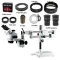 3.5X-90X Double Boom stéréo Simul Focal Microscope trinoculaire 21MP 1080 P HDMI USB caméra 144LED objectif lentille Microscopio