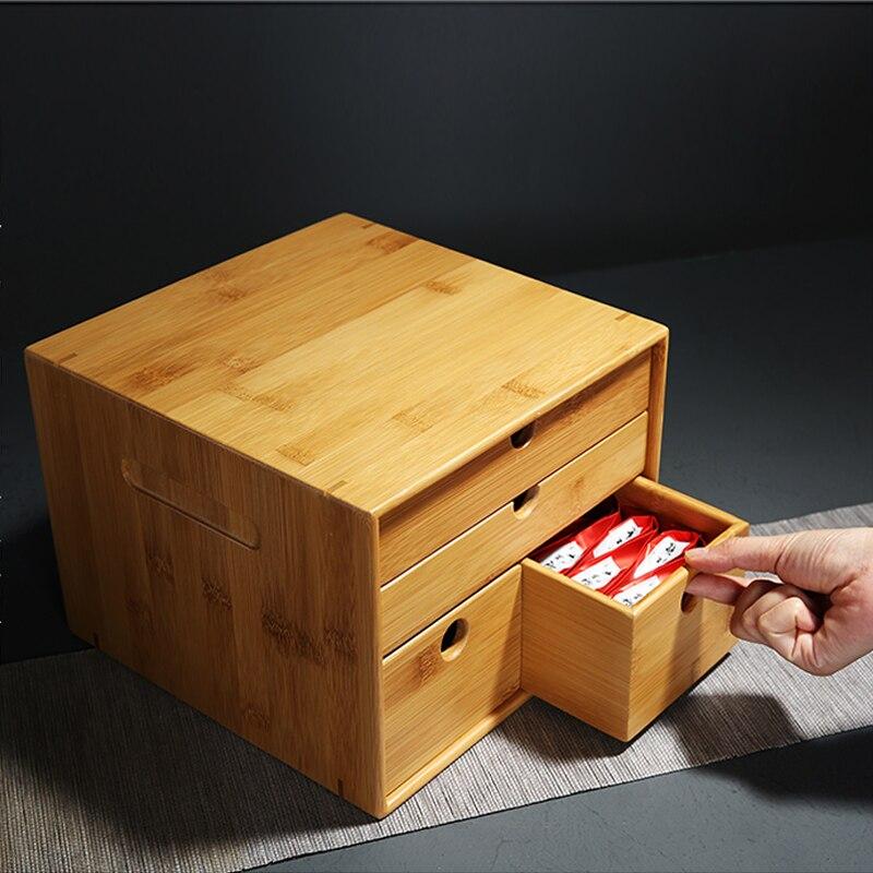 Nouveau classique en bois multifonctionnel thé et thé accessoires boîte de rangement, armoire de rangement thé gâteau boîte sûre et pratique ZSN-C4
