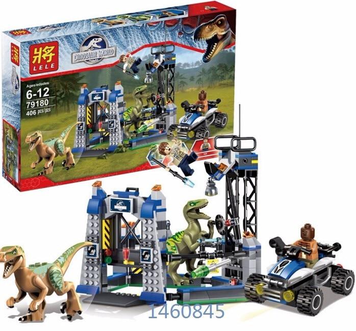 LELE 79180 Jurrassic Park 4 Dinosaur model Velociraptor toys Building Blocks Particles Minifigures Gift