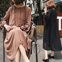 חצר רפוי נשים גדולות אופנה אביב 2018 של ללבוש טמפרמנט מתוק שמלת שיפון קצה פטרייה שחור