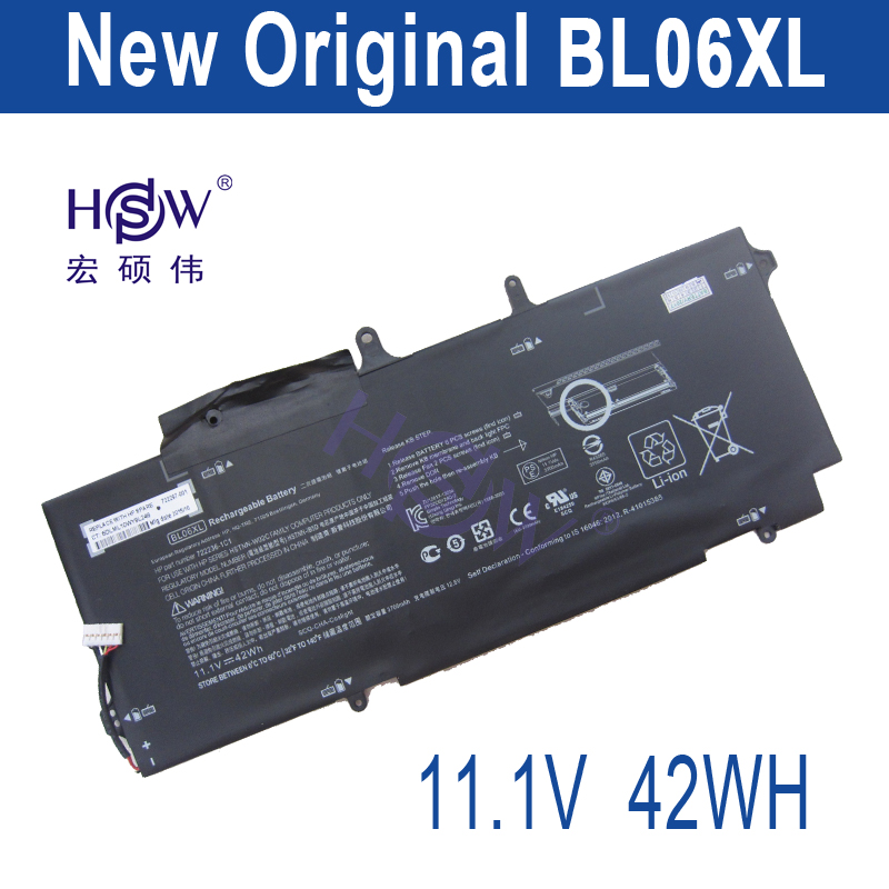 HSW Nouvel ordinateur portable batteries pour HSTNN-DB5D, HSTNN-W02C, BL06XL, 722236-2C1, EliteBook Folio 1040 G1, L7Z22PA, bateria