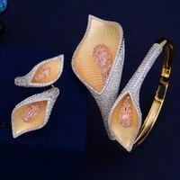 Fashion Christmas Gift Flower Shape Wedding Jewelry Sets Full Cubic Zirconia Adjustable Bangle Bracelet Ring For Women