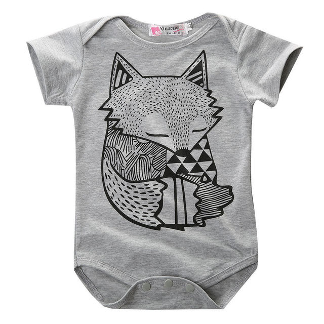8e48bfba4c41 2018 summer style baby boy romper newborn baby clothes Cute Fox ...