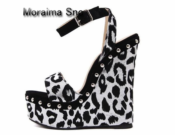 Moraima Snc brand sandali eleganti donna Leopard wedges high heels sandals women gladiator 16 cm summer platform shoes sandals brown women slippers super high heels with platform slides scarpe donna sandali 2017 fashion summer women shoes plus size