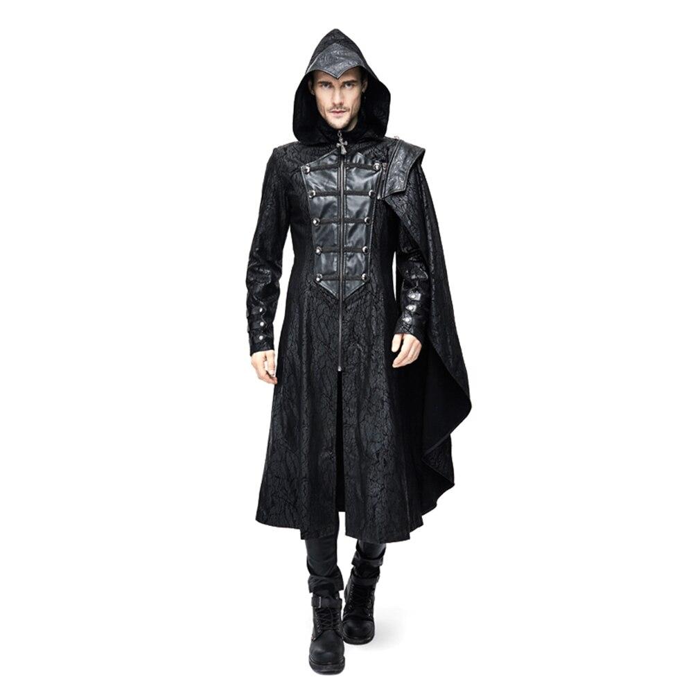 Стимпанк Для мужчин Тренч с капюшоном Пальто для будущих мам Застёжки молнии Повседневное плащ Пальто для будущих мам зимняя ветровка курт