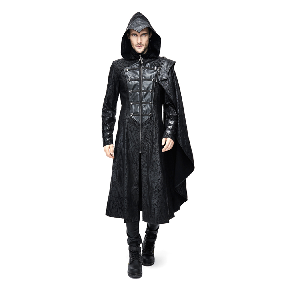 Steampunk Men Hooded Trench Coats Zippers Casual Cloak Coats Winter Windbreaker Jacket Overcoat