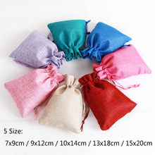 1pc (5 Sizes) Linen Jute Drawstring Gift Bags Christmas Halloween Gift Box Packaging Gift Bags Wedding Candy Box Chocolate Bags(China)