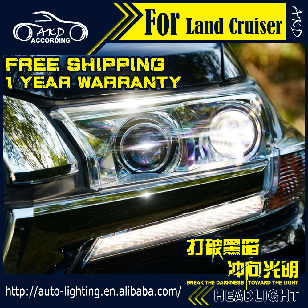 AKD Car Styling Head Lamp for Toyota Land Cruiser LED Headlight 2015 LC200 LED DRL H7 D2H Hid Option Angel Eye Bi Xenon Beam car styling abs chrome door body mouldings protection liner garnish covers strip 4pcs for toyota land cruiser lc200 2008 2017