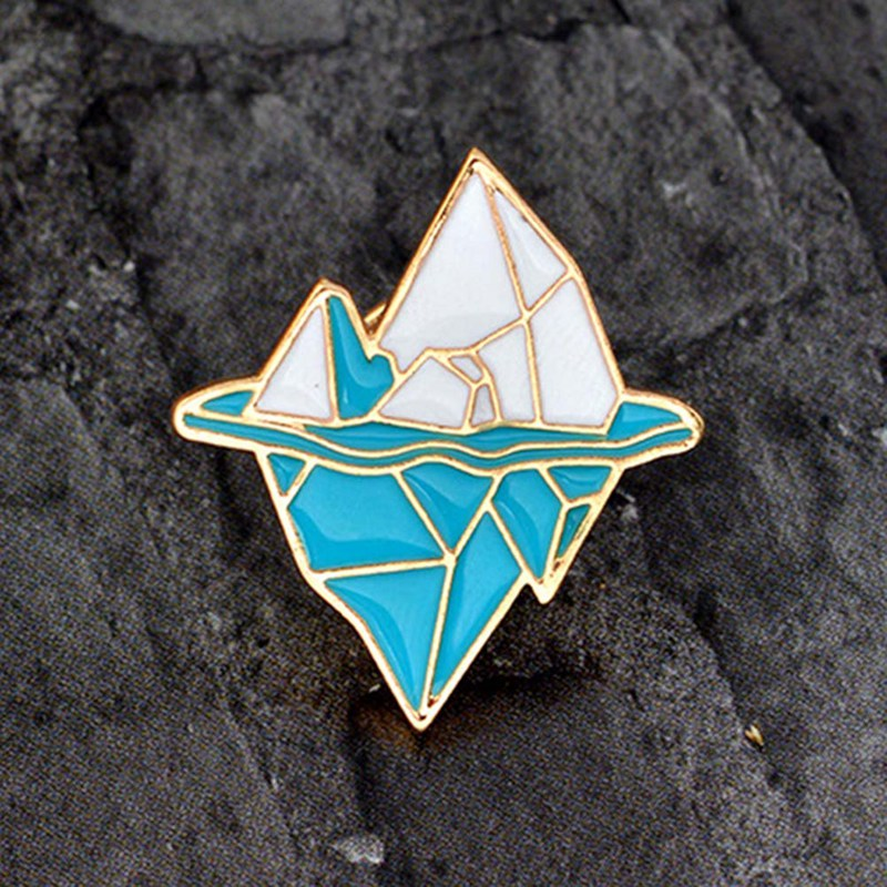 Cartoon Blue White Snow Mountain Pin Antarctic Iceberg Brooch Metal Enamel Button Backpack Pin Icon Badge Jewelry Gift Jewelry Sets & More Brooches