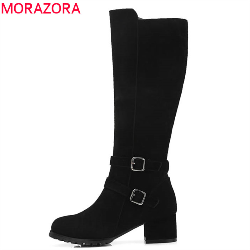 MORAZORA 2018 new arrival cow suede leather ankle boots for women round toe autumn winter boots square high heels shoes woman enmayla autumn winter chelsea ankle boots for women faux suede square toe high heels shoes woman chunky heels boots khaki black