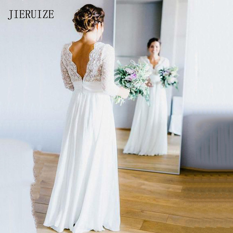 JIERUIZE White Chiffon Boho Wedding Dresses Deep V neck 3 4 Sleeves Backless Beach Wedding Gowns