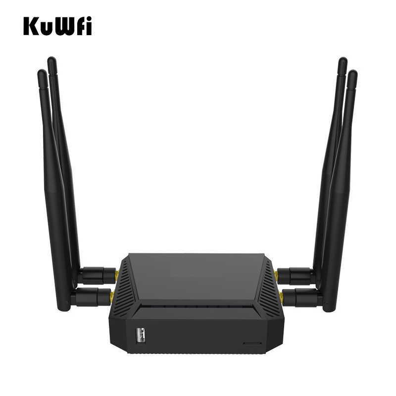 Kuwfi 3G/4G emplacement pour carte SIM routeur Wifi OpenWrt 300 Mbps répéteur de routeur sans fil haute puissance avec fonction VPN et antenne 4 * 5dBi
