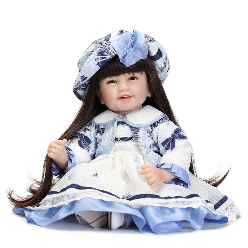 Children reborn doll toys 55CM long brown hair girl princess dolls dressing up play house toys for children bonecaChildren reborn doll toys 55CM long brown hair girl princess dolls dressing up play house toys for children boneca