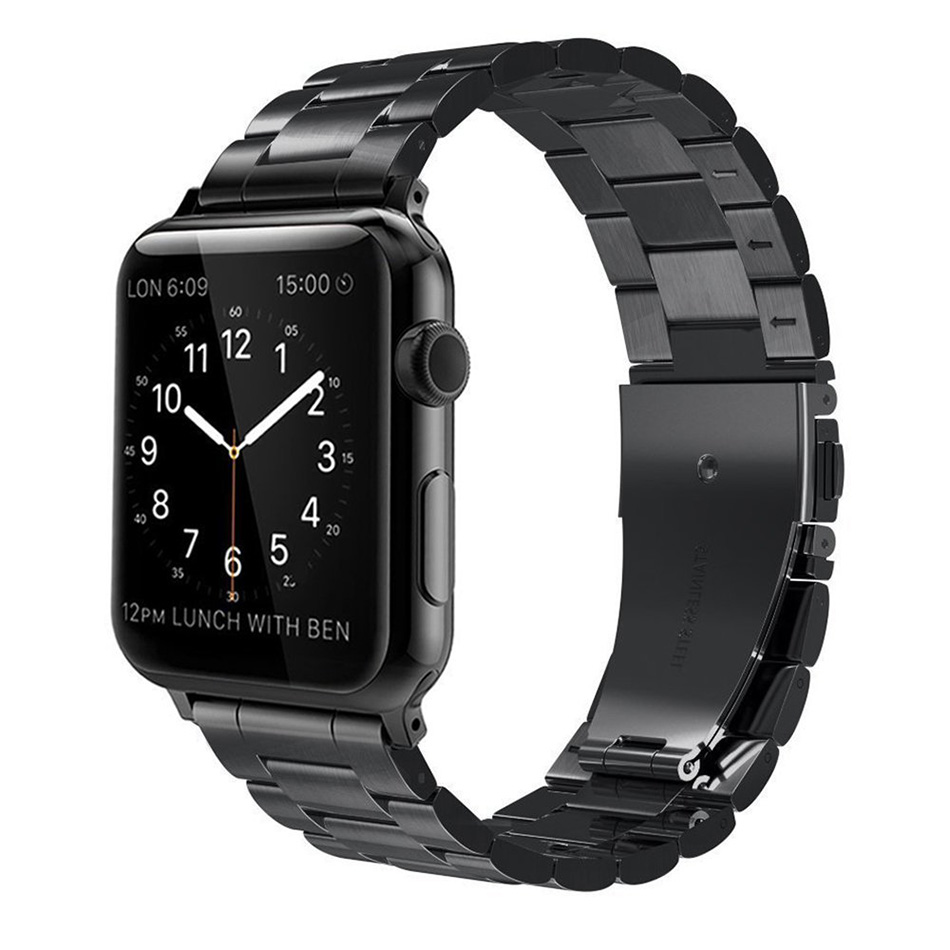 FOHUAS Stainless Steel Metal Replacement Band with Butterfly Buckle for Apple Watch Series 3 2 1 Sport and Edition 38mm 42mm in Watchbands from Watches