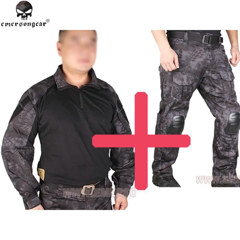 БДУ Emersongear с G3 форменная рубашка и штаны с прокладками колено Эмерсон БДУ airsoft войны-игра равномерный Тип Маскировочные костюмы EM7036 EM8586
