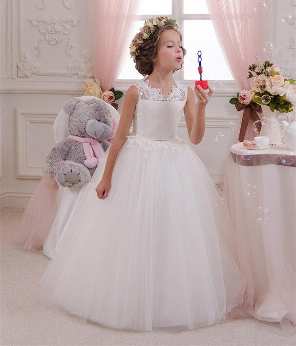купить White Lace New Flower Girl Dresses Ball Gown Sleeveless O Neck Long Wedding Pageant First Communion Dresses for Little Girls онлайн