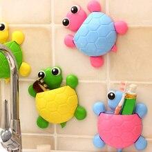 Diseño de dibujos animados tortuga ventosa gancho cepillo de dientes titular lindo tortuga niños cepillo de dientes titular baño Decoración Accesorios