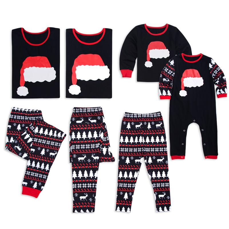 2 pcs cute santa hat christmas pajamas deer matching