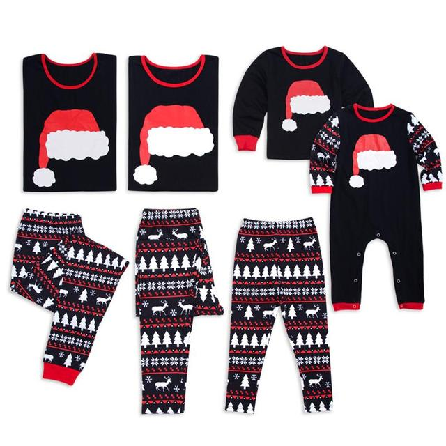 20eeab8d9f 2 Pcs Cute Santa Hat Christmas Pajamas Deer Matching Christmas Shirts For  the Whole Family Family