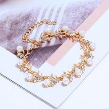 Bohopan New Arrival Fashion Elegant Pearl Bracelets Bohemia Shining Rhinestone Bracelets For Women Gold Color Bracelet Bangles недорого