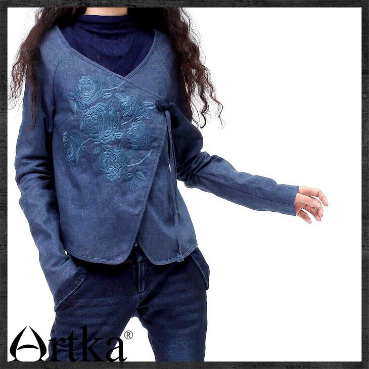 Femmes Noeud Manteau Artka cou Qualifié Court V blue Main Floral Coton Black rose Grenouille Surplis La Sa10237c À Broderie De Délicat Ethnique gFx0EE