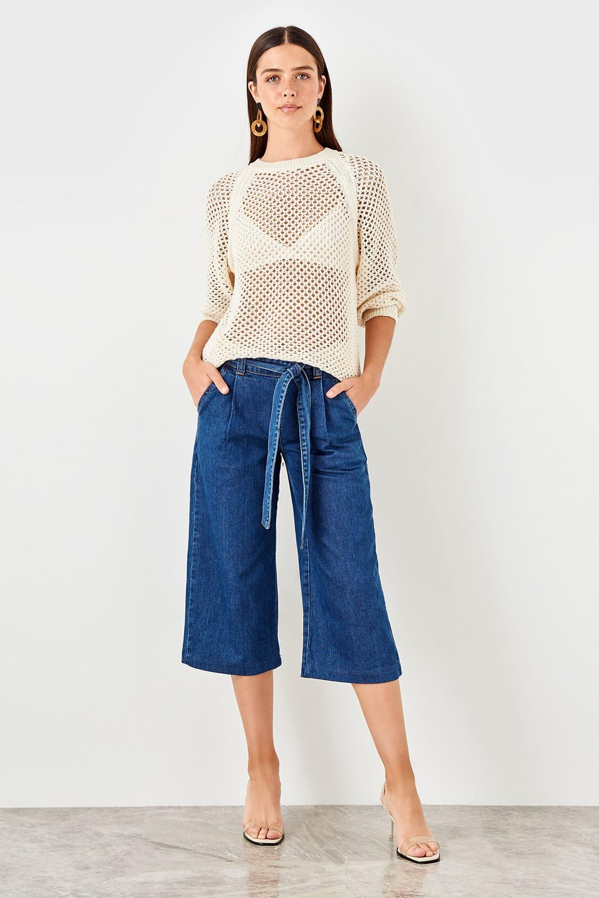 Trendyol Mavi Elasticized Waistband Detail High Waist Culotte Jeans TCLSS19LR0005