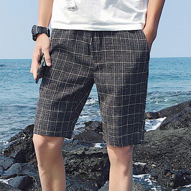 Summer men's Korean version of slimming plaid casual   shorts   summer five   shorts   big tide MC70
