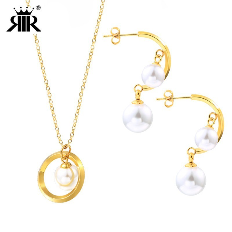 RIR Fashionable Pearl Wedding Jewelry Sets Sliver And Gold Stainless Steel  Long Pearl Chain Necklace And Drop Earring For Women -in Jewelry Sets from  ... e87ef0a82d4a