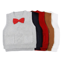Baby Boys Girls Casual Sweaters Knitted Vest Bow Pullovers Bow Sleeveless White Red Navy Brown Navy Spring Autumn Clothing GW75