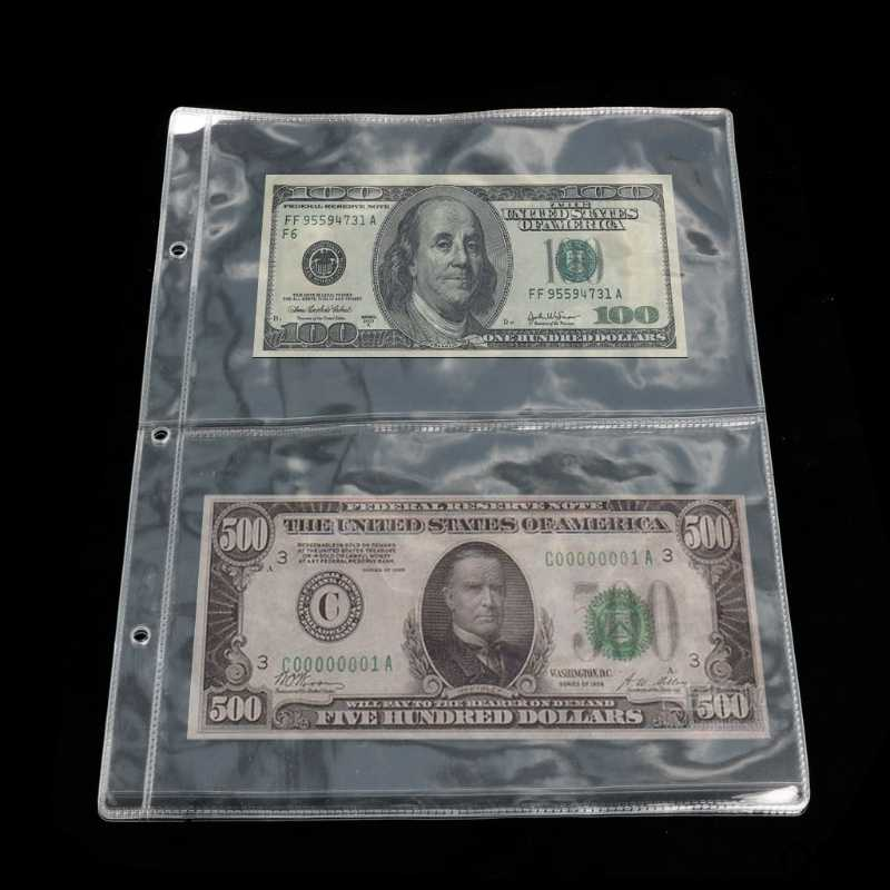 Wholesale Album Pages 2 Pockets Money Bill Note Currency Holder Storage Collection 1 Sheet May06