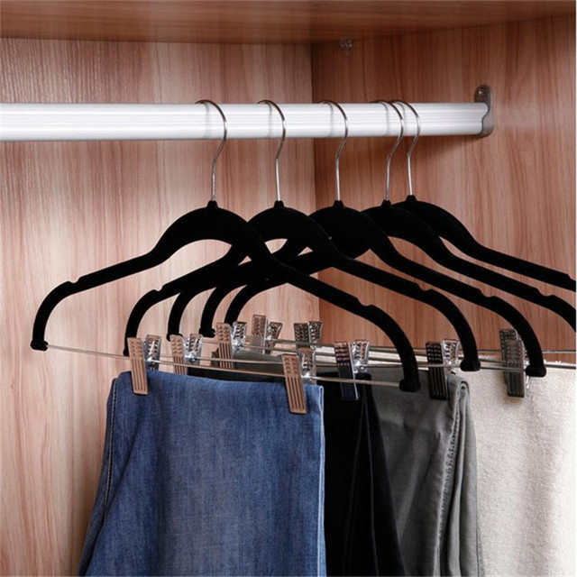 Dewel 12 Pieces Pant Hangers With Clips Flocking Pants Rack Non Slip Clothes Hangerfor Skirt
